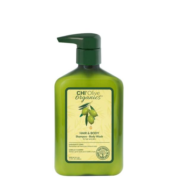 Olive Organics Hair & Body Shampoo-Body Wash Šampūnas ir kūno prausiklis, 340ml