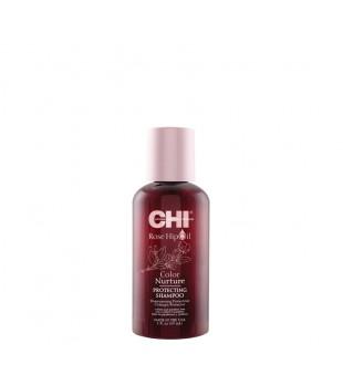 CHI Rose Hip Oil Color Nurture Protecting Shampoo Apsaugantis šampūnas dažytiems plaukams, 59ml | inbeauty.lt