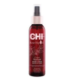 CHI Rose Hip Oil Color Nurture Repair & Shine Leave-In Tonic Atkuriamasis plaukų tonikas, 118ml | inbeauty.lt