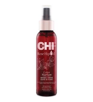 CHI Rose Hip Oil Color Nurture Repair & Shine Leave-In Tonic Atkuriamasis plaukų tonikas, 59ml | inbeauty.lt