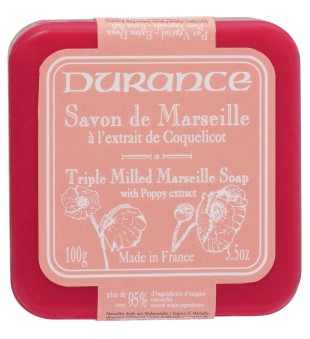 Durance Triple Milled Marseille Soap With Poppy Extract Augalinis muilas su aguonų ekstraktu, 100g | inbeauty.lt