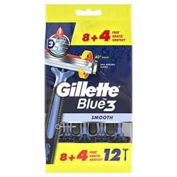 Blue 3 Smooth Vienkartiniai skustuvai, 12vnt