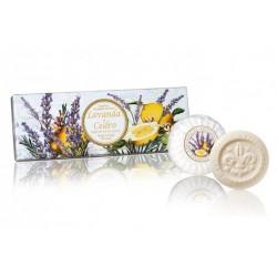 Levandų ir kedrų aromato muilų rinkinys, 3x100g