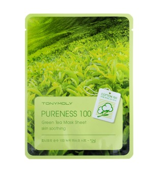 Tony Moly Pureness 100 Green Tea Mask Sheet Lakštinė veido kaukė su žaliąja arbata, 1vnt. | inbeauty.lt