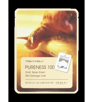 Tony Moly Pureness 100 Snail Mask Sheet Lakštinė veido kaukė su sraigių ekstraktu, 1vnt. | inbeauty.lt