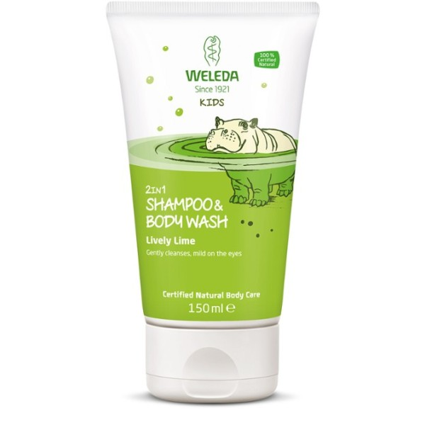Kids 2in1 Shampoo & Bodywash Lively Lime Šampūnas ir kūno prausiklis vaikams, 150ml