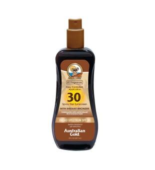 Australian Gold Spray Gel Sunscreen With Bronzers SPF30 Purškiamas losjonas nuo saulės su bronzatais, 237ml | inbeauty.lt