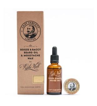 Captain Fawcett Booze & Baccy Beard Oil & Moustache Wax Gift Set Barzdos priežiūros rinkinys, 1vnt. | inbeauty.lt