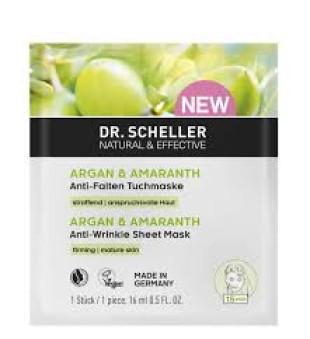 Dr Scheller  Argan & Amaranth Anti-Wrinkle Sheet Mask Lakštinė veido kaukė nuo raukšlių, 16ml | inbeauty.lt