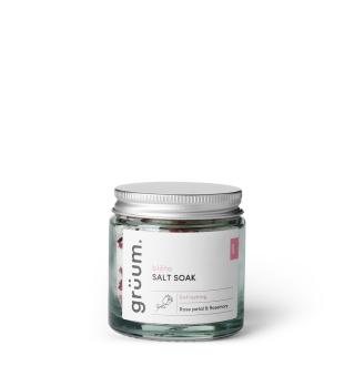 Grüum blöta Salt Soak Rose Petal & Rosemary Vonios druska, 120g | inbeauty.lt