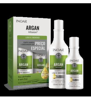 Inoar Argan Infusion Smooth & Silky Duo Kit Glotinančių priemonių rinkinys, 500ml + 250ml | inbeauty.lt