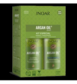 Inoar Argan Oil Duo Kit Sausų-pažeistų plaukų rinkinys, 2x250 ml | inbeauty.lt