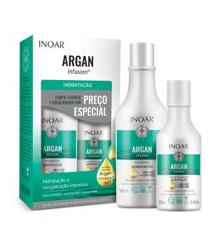 Inoar Argan Infusion Hydrating Duo Kit Drėkinamųjų priemonių rinkinys plaukams, 500+250ml | inbeauty.lt
