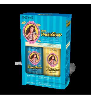 Inoar  Photoshop Duo Kit Blizgesio suteikiantis rinkinys plaukams su keratinu, 2x250 ml | inbeauty.lt