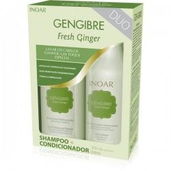 Rinkinys besiriebaluojantiems plaukams su imbieru Fresh ginger kit, 2x250 ml