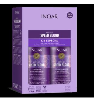 Inoar Speed Blond Duo Kit Pilkinantis, drėkinantis rinkinys šviesiems plaukams,  2x250 ml | inbeauty.lt