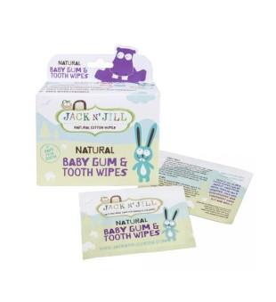 Jack N' Jill Baby Gum & Tooth Wipes Natūralios dantukų ir dantenų servetėlės su ksilitoliu, 25vnt | inbeauty.lt