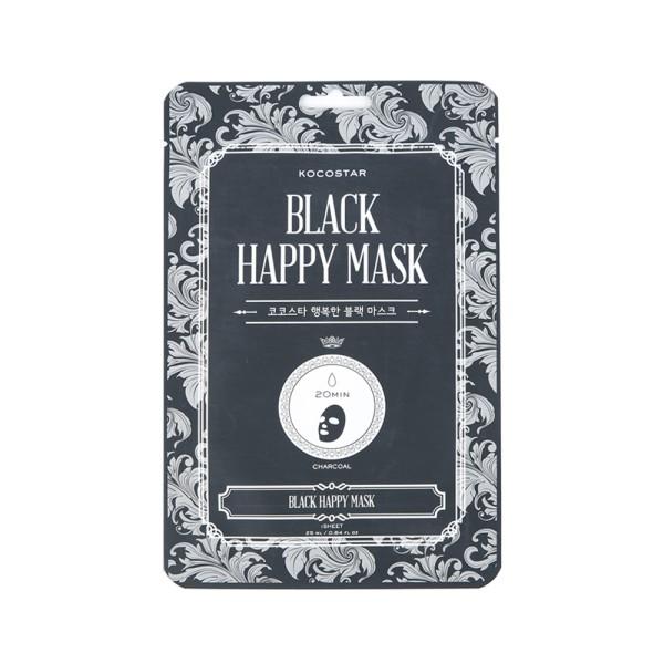 Black Happy Mask Valomoji lakštinė kaukė su anglimi, 1 vnt.