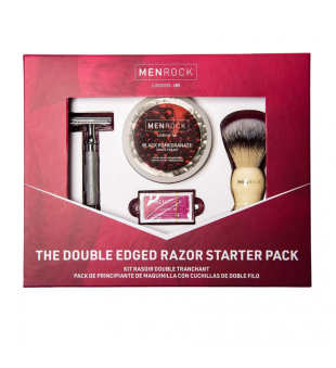 The Double Edged Razor Starter Pack Black Pomegranate Dviašmenio skustuvo rinkinys, 1 vnt.