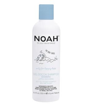 Noah Kids Gel Shower Shampoo Dušo gelis ir šampūnas su pienu ir cukrumi vaikams, 250ml | inbeauty.lt