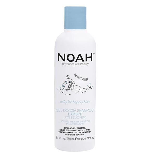 Kids Gel Shower Shampoo Dušo gelis ir šampūnas su pienu ir cukrumi vaikams, 250ml