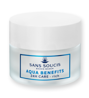 Sans Soucis  Aqua Benefits 24h Care Rich Drėkinamasis veido kremas sausai odai, 50ml | inbeauty.lt