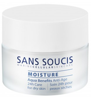 Sans Soucis  Moisture Aqua Benefits Anti Age 24h Dry Skin Drėkinamasis veido kremas sausai odai, 50ml | inbeauty.lt