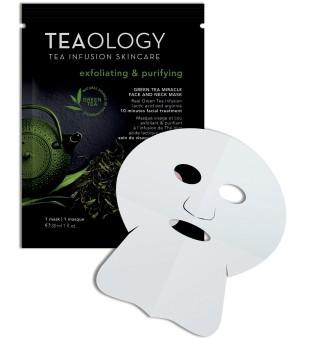 Teaology Green Tea Miracle Face & Neck Mask Laštinė kaukė veidui ir kaklui, 1vnt. | inbeauty.lt