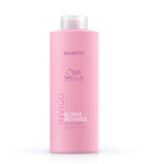 Wella Invigo Blonde Recharge Color Refreshing Shampoo Geltoną atspalvį neutralizuojantis šampūnas, 1000 ml | inbeauty.lt